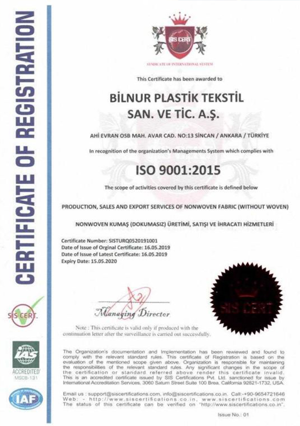 K-TEK Certification Of Registration maske üretim